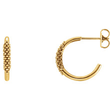 Beautiful 14Kt yellow gold Beaded J-Hoop Earrings with friction backs. The size of the earring is 15.14x2.61mm. Total weight of the gold is 2.05 grams.