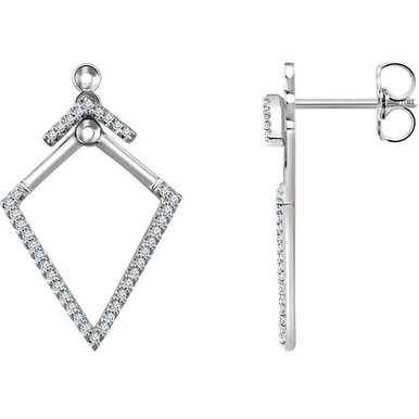 Simple and stylish, you're right on trend with these geometric front-back earrings. Set in 14kt gold with 76 sparkly diamonds weighing .25 ct tw.