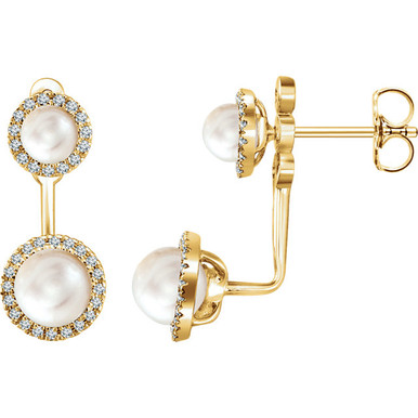 Beautiful 14Kt yellow gold freshwater cultured pearl earrings featuring 4 pearls and 1/5 carats in white diamonds. Total weight of the gold is 2.01 grams.
