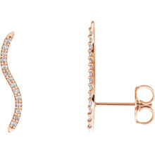Beautiful pair of 14K Solid Rose Gold Genuine Diamonds Wavy Ear Climbers Curved Design Earrings featuring 1/6 ct. tw. Round genuine Diamonds. These earrings makes an awesome Gift for that special someone in your life.
