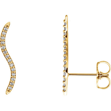 Beautiful pair of 14K Solid Yellow Gold Genuine Diamonds Wavy Ear Climbers Curved Design Earrings featuring 1/6 ct. tw. Round genuine Diamonds. These earrings makes an awesome Gift for that special someone in your life.