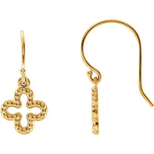 Beautiful 14k Yellow Gold Beaded Clover Earrings. The size of the earring is 23.20x10.30mm. Total weight of the silver is 1.98 grams.