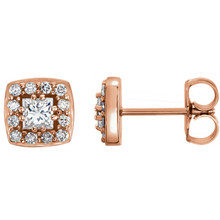 These exquisite diamond cluster stud earrings offer beauty equaled only to her own. Stunning in 14K rose gold, these earrings feature 26 dazzling diamonds. Classic and elegant, these earrings captivate with 1/2 ct. t.w. of diamonds and a polished shine.