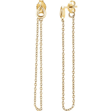 Superb style is found in these 14Kt yellow gold leaf chain earrings. Polished to a brilliant shine.
