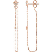 Superb style is found in these 14Kt rose gold chain earrings accented with the brilliance of .08 carat round full cut diamonds.