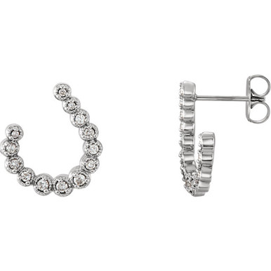 These 1/4 ct. t.w. diamond crescent drop earrings are set in 14K white gold and secure with friction backs.