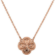 Styled in 14k rose gold, this clover necklace is a lovely way to bring luck with you wherever you go. The pendant is suspended from a 18-inch cable chain secured with a spring ring clasp.