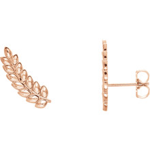 Beautiful pair of 14K Solid Rose Gold Petite Leaf Ear Climbers. These earrings makes an awesome Gift for that special someone in your life.