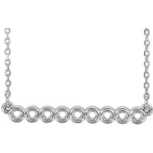 "Make a statement with this circle bar 16-18"" necklace. You will reach for this one over and over again. Diamond-cut cable chain with spring ring clasp closure. 14kt white gold necklace."