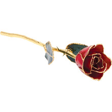 "Real semi-opened rose petals dipped in lacquer and trimmed in 24kt gold. Stems are approximately 12"" long and are gold plated. Each rose is elegantly wrapped in gold tissue and packaged in a gold, two-piece outer box."