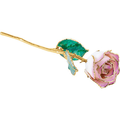 "Real semi-opened rose petals dipped in lacquer and trimmed in 24kt gold. Stems are approximately 12"" long and are gold plated. Each rose is elegantly wrapped in gold tissue and packaged in a gold, two-piece outer box. Color may vary."