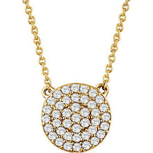 If you want to make a real entrance, don this dramatic diamond pendant necklace. All eyes will be on you and your jeweled d'colletage. You will be instantly transfixed into the one they all want to know even if they are not the actual guest of honor. Set in 14K yellow gold, this pendant is adorned with 41 diamonds.