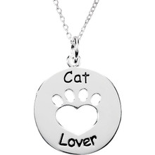 Sterling Silver Heart U Back Cat Lover Paw Pendant with Chain. The pendant is 22.74 mm x 19.83mm in size. The Heart U Back Collection of jewelry has been uniquely designed and created to express the heart-warming bond between pet and the pet owner.