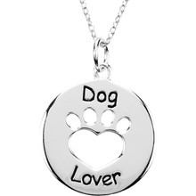Sterling Silver Heart U Back Dog Lover Paw Pendant with Chain. The pendant is 21.73mm x 19.61mm in size. The Heart U Back Collection of jewelry has been uniquely designed and created to express the heart-warming bond between pet and the pet owner.