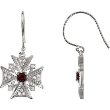 Treat the woman of faith to these dazzling vintage-inspired cross dangle earrings. Expertly crafted in 14K white gold, each dangle features garnet mozambique stones & diamonds, a brilliant expression of her beliefs.