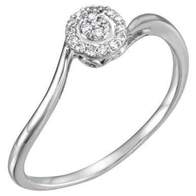 Give her a ring as precious as your promise of love. This delightful promise ring will win her heart. Styled in 14k white gold, the ring has a total diamond weight of .07 carat. Diamonds are H+ in color and I1 or better in clarity. Polished to a brilliant shine.