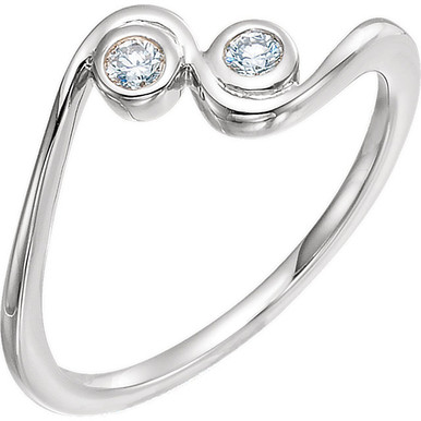 Two round diamonds sparkles in this elegant promise ring for her. Crafted in 14K white gold, the ring has a total diamond weight of 1/10 carat. Diamonds are H in color and I1 or better in clarity. Polished to a brilliant shine.