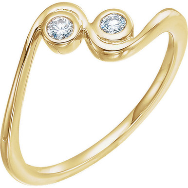 Two round diamonds sparkles in this elegant promise ring for her. Crafted in 14K yellow gold, the ring has a total diamond weight of 1/10 carat. Diamonds are H in color and I1 or better in clarity. Polished to a brilliant shine.