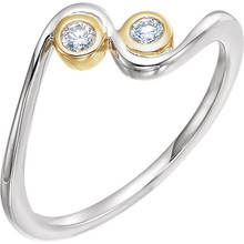 Two round diamonds sparkles in this elegant promise ring for her. Crafted in 14K White & Yellow gold, the ring has a total diamond weight of 1/10 carat. Diamonds are H in color and I1 or better in clarity. Polished to a brilliant shine.