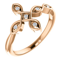 Finally. You've found the one piece of jewelry to complete your collection with this elegant sideways diamond cross fashion ring in 14k rose gold.  Featuring an entrancing diamond sideways cross for women shining with 6 grand diamonds totaling an illustrious 0.05 carats. The set stones glint along the 14k rose gold finish and might just make your friends a little jealous.