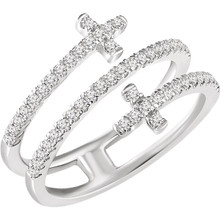 Showcase your faith with this highly unique double sideways cross design crafted from 14k white gold. Diamonds are H+ in color and I1 or better in clarity.