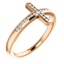 Share your faith for all to see with this sparkling diamond cross ring. Created in 14K rose gold this design features a traditional cross outlined with shimmering diamonds and turned on its side. Certain to become a treasured favorite, this ring captivates with 1/10 ct. t.w. of diamonds and a polished shine.
