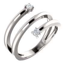 This 1/8 carat total weight diamond ring expresses the harmony of union with a two-stone diamond design in 14k white gold