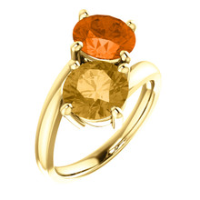 Made in yellow gold, this exquisite design features a Honey Topaz & Poppy Topaz gemstones. Both gemstones representing your friendship and loving commitment.