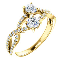 Made in yellow gold, this exquisite design features 2 diamonds accented with 48 round cut diamonds, representing both your friendship and loving commitment.