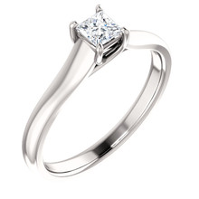 Simple, sleek and so stunning, take her breath away with this exquisite diamond engagement ring. Fashioned in cool 14k white gold, the eye is drawn to the 1/4 ct. round diamond center stone standing tall in a traditional four-prong setting.