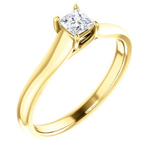 Simple, sleek and so stunning, take her breath away with this exquisite diamond engagement ring. Fashioned in cool 14k yellow gold, the eye is drawn to the 1/2 ct. round diamond center stone standing tall in a traditional four-prong setting.