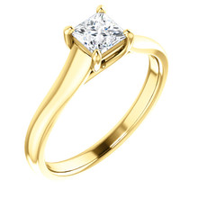 Simple, sleek and so stunning, take her breath away with this exquisite diamond engagement ring. Fashioned in cool 18k yellow gold, the eye is drawn to the 1/2 ct. round diamond center stone standing tall in a traditional four-prong setting.