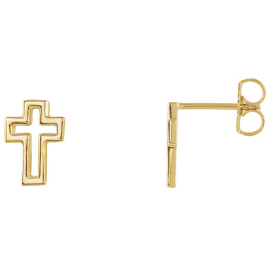 Crosses don't have to be large in stature to have a big impact. The significance of these symbols is recognized across generations and cultures, enabling them to send a message about what you believe in a millisecond. These cleanly-cut cross studs make a statement of faith that's evident despite their petite size. Although they're small in size, these earrings stand strong, serving as no-nonsense pictures of your gratitude for what Jesus did for you on the cross.