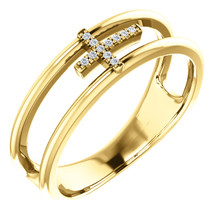 Exceptional 14Kt yellow gold diamond negative space cross design is captured in the ring. Total weight of the gold is 3.91 grams. Diamonds are G-H in color and I1 or better in clarity.