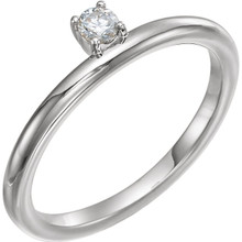 This lovely, diamond asymmetrical stackable ring is fashioned from high-polished 14K white gold. Diamonds are G-H in color and I1 or better in clarity.