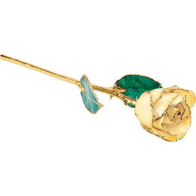 """Real semi-opened rose petals dipped in lacquer and trimmed in 24kt gold. Stems are approximately 12"""" long and are gold plated. Each rose is elegantly wrapped in gold tissue and packaged in a gold, two-piece outer box."""