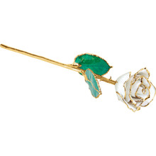 Lacquered April Diamond Colored Rose with Gold Trim