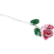 "Real semi-opened rose petals dipped in lacquer and trimmed in platinum. Stems are approximately 12"" long and are gold plated. Each rose is elegantly wrapped in platinum tissue and packaged in a gold, two-piece outer box."