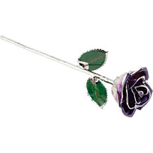 """Real semi-opened rose petals dipped in lacquer and trimmed in platinum. Stems are approximately 12"""" long and are gold plated. Each rose is elegantly wrapped in platinum tissue and packaged in a gold, two-piece outer box."""