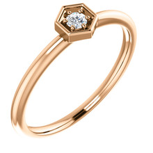 This gorgeous diamond hexagon stackable ring can be worn on its own, or it can be stacked with other rings to really make a dramatic style statement. It has a very simple and timeless design with .06 ct tw diamond that twinkle and shine. This beautiful ring is pictured here in sophisticated 14 karat rose gold.