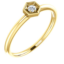 This gorgeous diamond hexagon stackable ring can be worn on its own, or it can be stacked with other rings to really make a dramatic style statement. It has a very simple and timeless design with .06 ct tw diamond that twinkle and shine. This beautiful ring is pictured here in sophisticated 14 karat yellow gold.