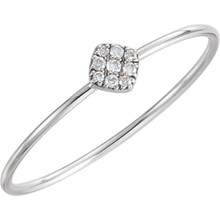 Stunning 14Kt white gold diamond petite square cluster ring design with 1/8cts diamonds. Total weight of the gold is 0.56 grams.