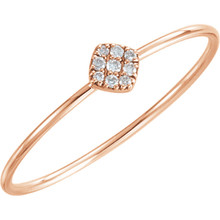 Stunning 14Kt rose gold diamond petite square cluster ring design with 1/8cts diamonds. Total weight of the gold is 0.56 grams.