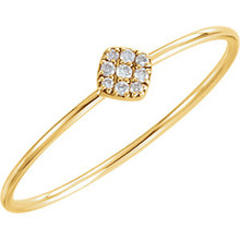 Stunning 14Kt yellow gold diamond petite square cluster ring design with 1/8cts diamonds. Total weight of the gold is 0.56 grams.