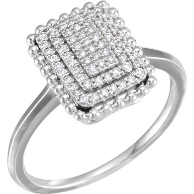 Chic, modern, playful, geometric, stunning, sharp, elegant, sophisticated and stylish... This diamond rectangle fashion ring really has a lot to say for itself. It contains 70 shimmering diamonds weighing 1/5 ct tw within a dazzling rectangle shape. It's design seems simple, but also evokes elegance. It is pictured here in 14kt white gold.