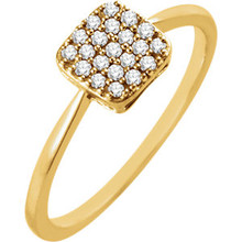Chic, modern, playful, geometric, stunning, sharp, elegant, sophisticated and stylish... This diamond square fashion ring really has a lot to say for itself. It contains 21 shimmering diamonds weighing 1/6 ct tw within a dazzling square shape. It's design seems simple, but also evokes elegance. It is pictured here in 14kt yellow gold.