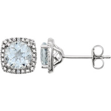 "Beautiful sterling silver Aquamarine March birthstone diamond earrings with .015 ct tw. Say ""I love you"" to any woman in your life; a friend, mother, wife, girlfriend, daughter. All earrings are sold in pairs."