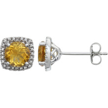 "Beautiful sterling silver Citrine November birthstone diamond earrings with .015 ct tw. Say ""I love you"" to any woman in your life; a friend, mother, wife, girlfriend, daughter. All earrings are sold in pairs."