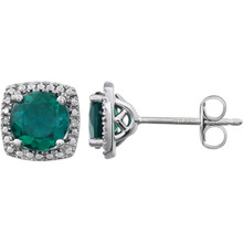 "Beautiful sterling silver Emerald May birthstone diamond earrings with .015 ct tw. Say ""I love you"" to any woman in your life; a friend, mother, wife, girlfriend, daughter. All earrings are sold in pairs."