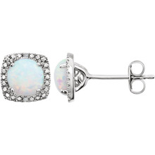 "Beautiful sterling silver Opal October birthstone diamond earrings with .015 ct tw. Say ""I love you"" to any woman in your life; a friend, mother, wife, girlfriend, daughter. All earrings are sold in pairs."